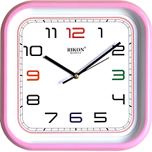 Wall clock - square shaped, PINK hard plastic frame 27 cm x 27 cm