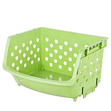 4-layer stackable kitchen shelf fruit and vegetable basket green