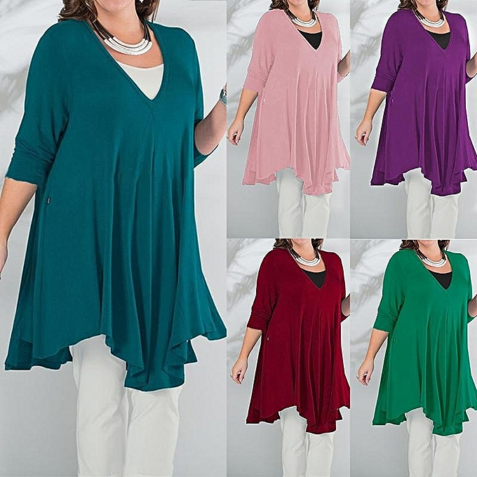 32582a549cfee ... Oversized Long Tops Autumn Women Knee Length Dress V Neck Long Sleeve  Casual Loose Solid Blouse