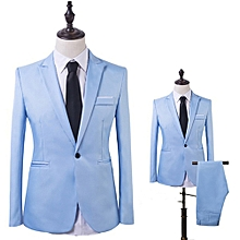 Men Business One Button Formal Two-Piece Suit-Sky Blue - Sky Blue - XXL