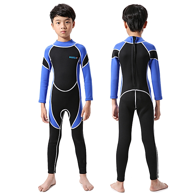 ae8165d0bcd3a ... Kids Neoprene Diving Wetsuit Boys Girls Swimsuits Long Sleeve UV  Protection Back Zipper Swimwear