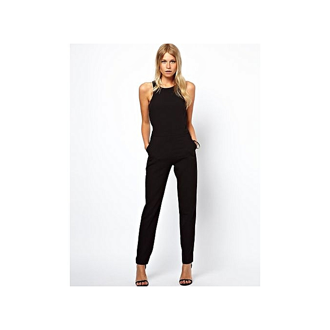 d09880059d54 Refined Black Sleeveless Jumpsuits Fashion High Street Cut Out Back Jumpsuit  New Spring Summer Fashion Women