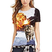 Generic Womens 3D Cat Lovers Printing Tees Shirt Short Sleeve T-Shirt Blouse Tops A1