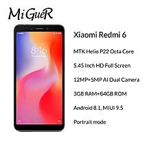 "Xiaomi 6 3GB+64GB Mobile Phone Helio P22 Octa Core 12MP+5MP Dual Camera 5.45"" 18:9 Full Screen"