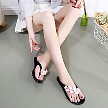 New Fashion Lady's Camellia Crystal Flat Sandals & Flip Flops (Black)