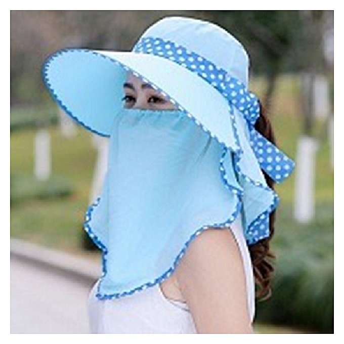 675c70831fc65 1Chiffon pale blue 1hat+veil 1Well ventilated sun protection hat hat Xiu the  set hide