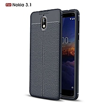 Nokia 3.1 Silicone Case, Litchi Pattern TPU Anti-knock Phone Back Cover For Nokia 3.1 - Blue.