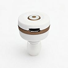 Mini Bluetooth Wireless In-Ear Mono Headphones Headset Earphone W/Mic Smallest White