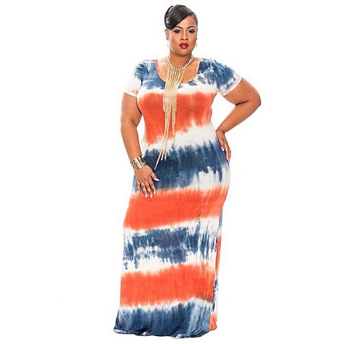 b2d5271c66cec Summer Large Plus Size Women Dress Short Sleeve Tie Dye Dresses Large Size  Loose Casual Maxi Long Dress African Clothing - orange