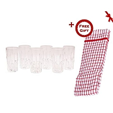 Long Drink Glasses - 6 Pieces (+ Free Gift Hand Towel).