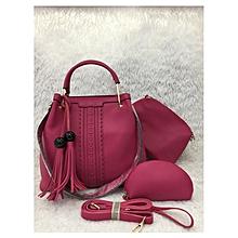 3 In 1Tassel Panelled Shoulder Handbag - Wine Red