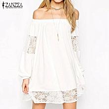 Plus Size S-5XL ZANZEA Womens Lace Crochet Hollow Out Casual Loose Tops Blusas Slash Neck Off Shoulder (Off White)