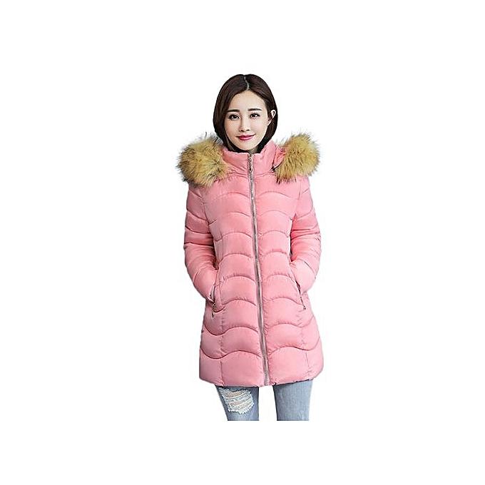 211efd5573f Hiaojbk Store Women Winter Warm Coat Faux Fur Hooded Thick Warm Slim Jacket  Long Overcoat-