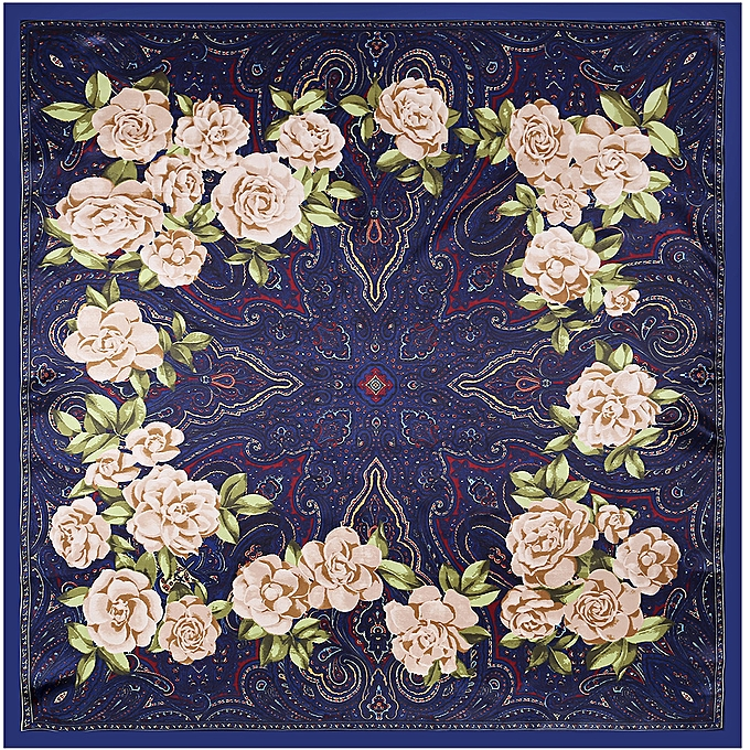 13d3e6360f Bandana Scarf Cashew Paisley Printed Silk National Style Shawl Large Square  Floral Shiny Lady Women Muslim Hijab Navy Blue