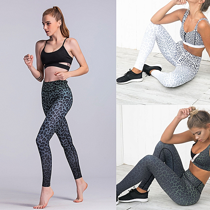 59e9ab63333f3 ... Women Sports Yoga Leggings Leopard Print Stretchy Sportswear Fitness  Workout Skinny Bodycon Pants Tights Trousers ...