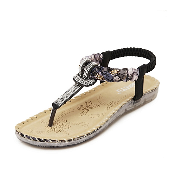 0e267be5cf72 Hot Large Size Women Summer Sandals Bling Beading Plaftorm Wedges Shoes  Woman Slid Slip-on