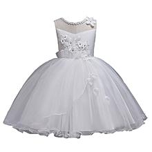 f3f962ec01 Girls Flower Dresses Princess Wedding Dress Children Clothing Embroidery  Fluffy Tulle Dresses - White
