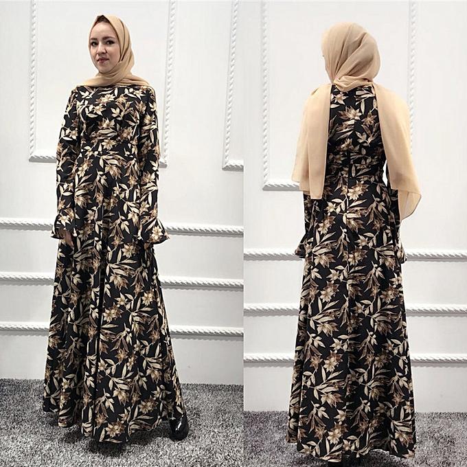 ff58b3df93 paidndh store Muslim women Long Maxi Dress Robe Abaya Islamic Flower Dubai  Cardigan Ramadan-Black