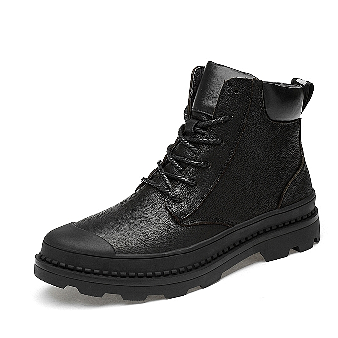 f698474b73b Mens Genuine Leather Safety Riding Boots Work Shoes Black