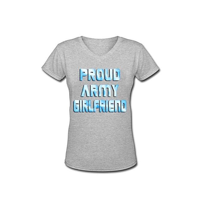 aaa5c3e5 Fashion ZWEN Womens Short Sleeve T-Shirt Proud Army Girlfriend ...