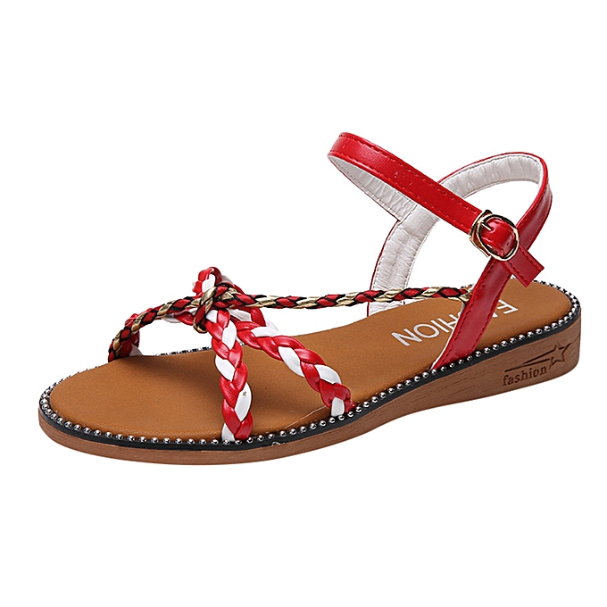 1b4b5e1fc Women s Fashion Casual Open Toe Flat With Buckle Strap Shoes Low Heels  Sandals