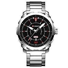 CURREN 8266 Business Men Watch Calendar Simple Stainless Steel Strap Fashion Quartz Wrist Watch Style 2