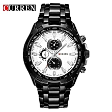 Watches, 8023 Luxury stainless steel Watch Men Business Casual Quartz Waterproof Watches - Black