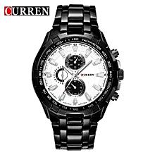 Watches, 8023 Luxury stainless steel Watch Men Business Casual Quartz Waterproof Watches - Black
