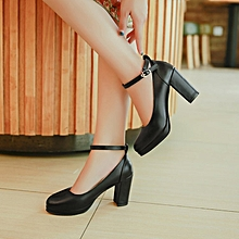 Thick Heel Round Toes Women High Heels Shoes Black