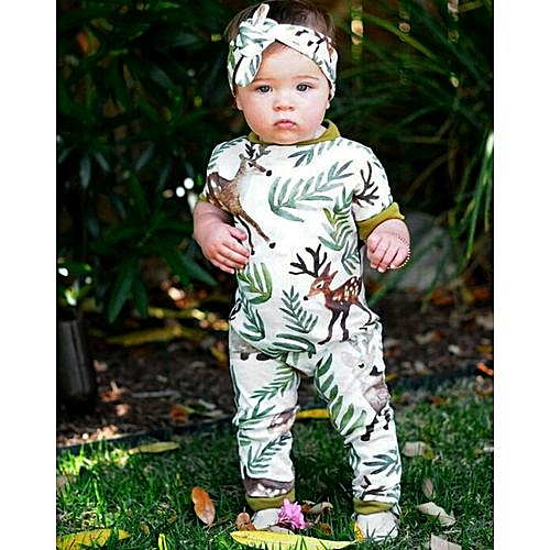 37cf37a82483 Eissely Newborn Infant Baby Girl Cartoon Deer Printing Floral Romper+Headband  Outfits