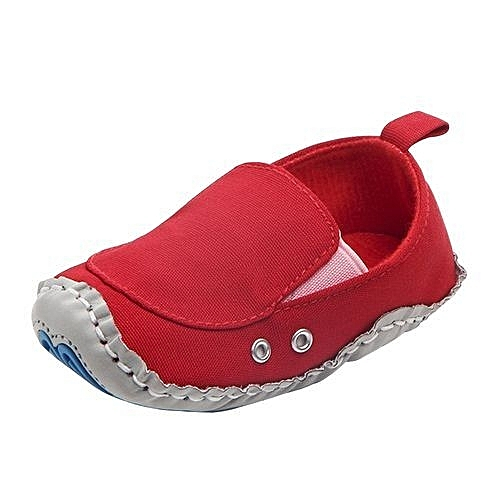 da5dffc89a2e YiQu bluerdream-Lovely Toddler First Walkers Baby Shoes Round Toe Flats  Soft Slippers Shoes- Red