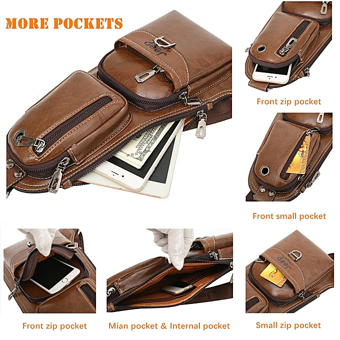 Crossbody Bags Jeep Brand New Men Messenger Bags Hot Crossbody Shoulder Bag Famous Mans Leather Sling Chest Bag Fashion Casual 6196 Men's Bags