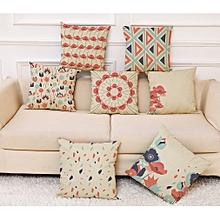 Honana Colorful Flower Creative Pattern Pillow Case Cotton Linen Throw Cushion Cover