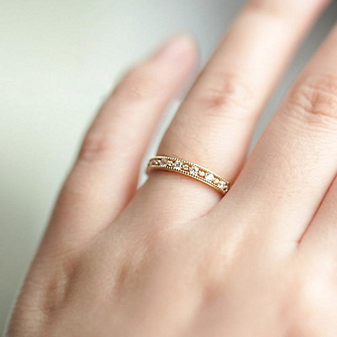 Fashion Simple 18k Gold Wedding Ring Engagement Diamond Rings For