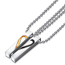 Refined Couple Chain Necklaces Pendant Lover Valentine's Gift 1Pair