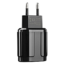 5V/2.4A EU Plug Dual USB Ports Travel Wall Phone Charger adapter For iPhone iPad Samsung Xiaomi(Black)