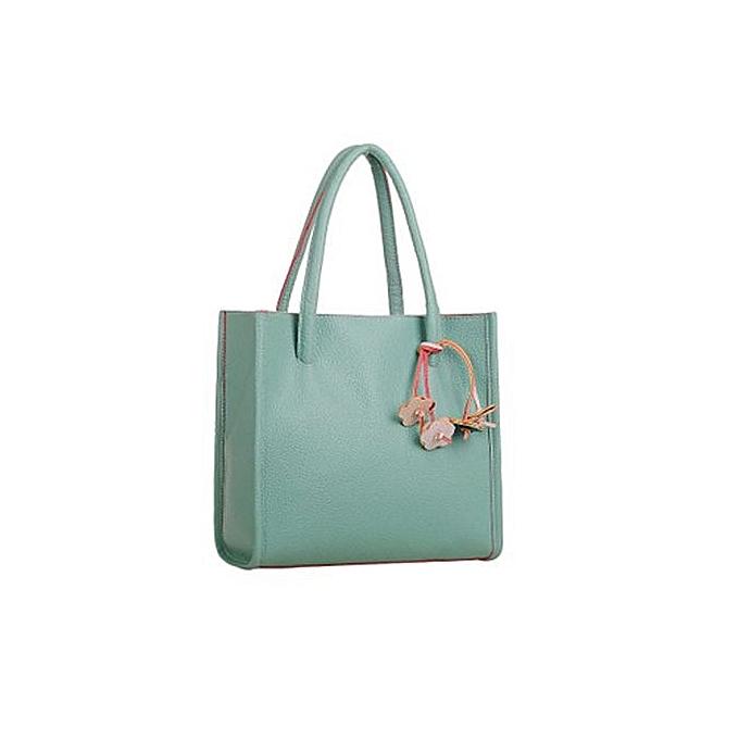 bluerdream-Fashion Girls Handbags Leather Shoulder Bag Candy Color Flowers Totes GN-Green