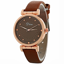Watch Woman Fashion Leather Band Analog Quartz Round Wrist Watch Watches-Coffee