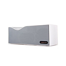 Bluetooth Stereo Speaker FM Radio Built-in Mic - White