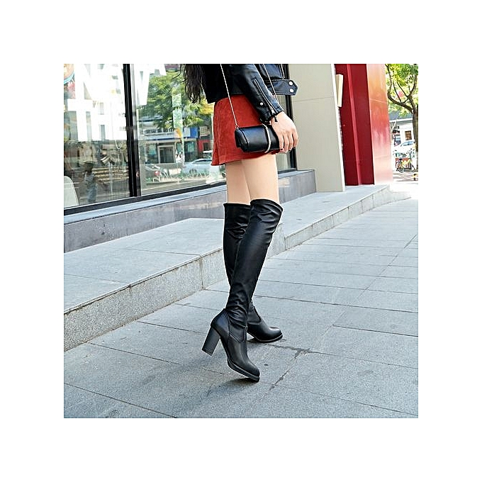 c7bbd1b3bff ... Bliccol High Heel Shoes Fashion Leather Over Knee Boots Women Toe  Elastic Stretch Thick Heel Boots ...