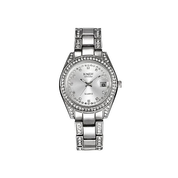 8bbd92177546 Henoesty Fashion XINEW Ladies Women Girl Unisex Stainless Steel Date Quartz  Wrist Watch