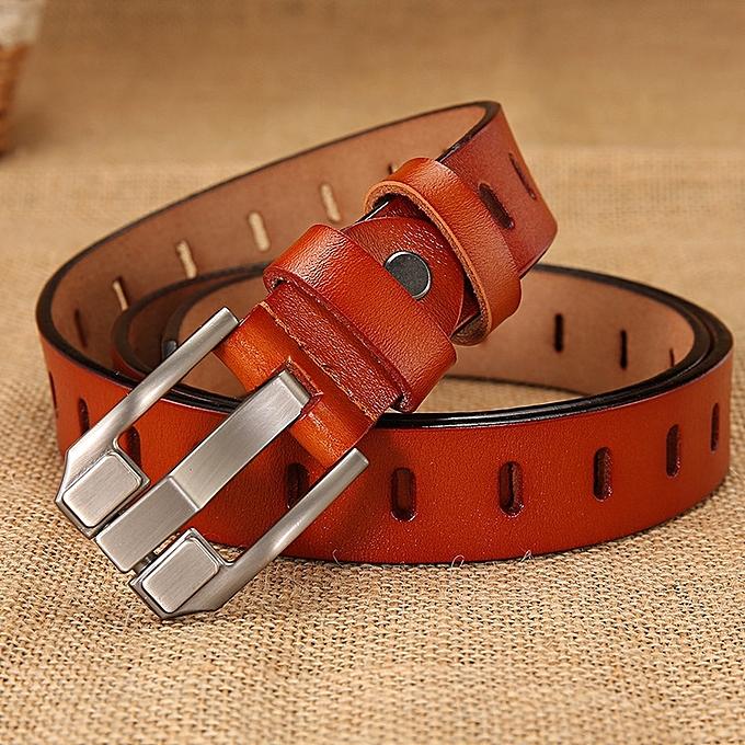 c1050872f Ladies belt retro wild hollow belt female leather belt women's pin buckle  wide belt-105CM