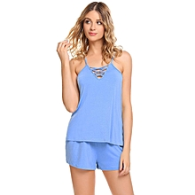 Women Spaghetti Strap Cross V Neck Sleepwear Short Solid Pajama Set Nightwear ( Blue )