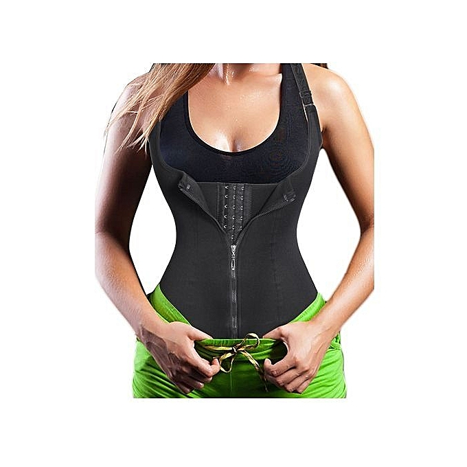 30f300e4c5 Women s Underbust Corset Waist Trainer Cincher Steel Boned Body Shaper Vest  With Adjustable Straps Black
