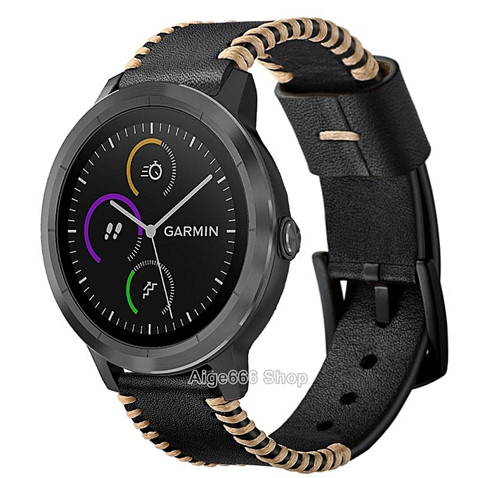 929c3b79df20 Replacement Crazy Horse Soft Genuine Leather Strap Band for Garmin  Vivoactive 3 Music Smart Watch (