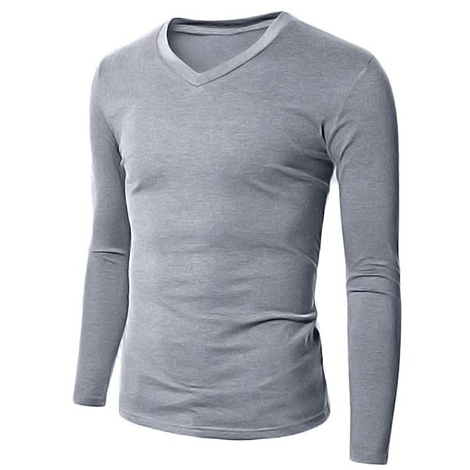 11ed0fbfe538 Men's Casual Slim Fit Shirt V Neck Long Sleeve T-Shirts Plain Tops (Grey