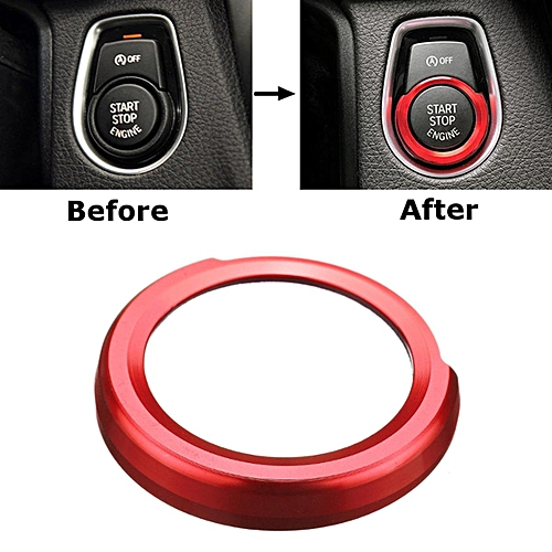 Aluminum Alloy Engine Start Stop Button Switch Sticker Circle Cover For BMW  1 2 3 4 X1 Series (Red)