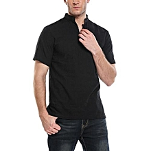 Men's Stand Collar 2-Button Short Sleeve Split Solid Casual T-Shirt ( Black )