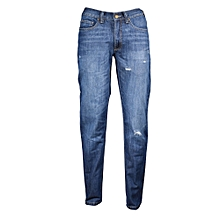 Dark Blue Rugged Men's Jeans - Freestyle Streetwear