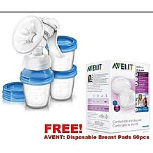 SUPA DEAL: AVENT Manual Breast Pump+ 5 clear storage cups & FREE 60 pack disposable breast pads